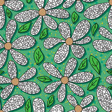 Flower coloring green background seamless pattern. Illustration coloring flower green background seamless pattern design graphic element Royalty Free Stock Photography