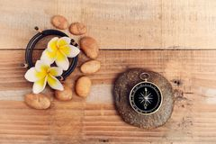 Flower and Compass Royalty Free Stock Photo