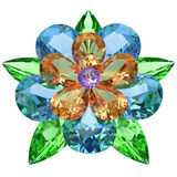 Flower composed of colored gemstones on white Stock Photos