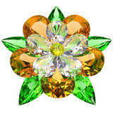 Flower composed of colored gemstones on white Royalty Free Stock Photo