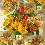 Flower composition. A composition of flower bunches Royalty Free Stock Images