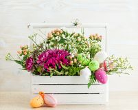 Flower composition with easter eggs. Easter concept royalty free stock photography