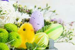 Flower composition with easter eggs, happy easter. Copyspace stock photography