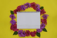 Flower composition. Frame made of fresh colorful flowers with white space for text on yellow background. Flat lay, top view, stock images