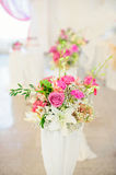 Flower composition in wedding restaurant Royalty Free Stock Photo
