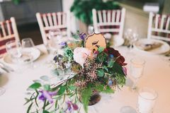 Flower composition on a wedding table Royalty Free Stock Photo