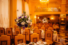 Flower compositions at a wedding banquet Stock Images