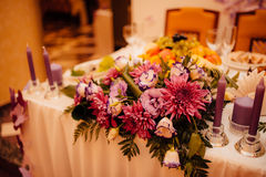 Flower compositions at a wedding banquet Stock Image