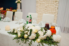 Flower compositions at a wedding banquet Stock Photo