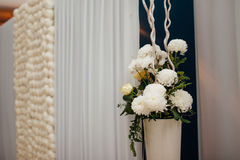 Flower compositions at a wedding banquet Stock Photos