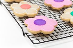 Flower Cookie. Selective focus. Royalty Free Stock Image
