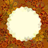 Flower covered decorative frame in orange. Bright flower covered decorative frame in orange color Stock Image