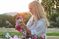 Flower crown and woman stock photography