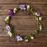Flower crown. On a wooden background Royalty Free Stock Image