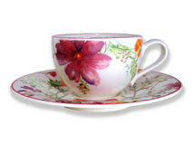 Flower Cup & Saucer. Flower Cup & Saucer on white background Royalty Free Stock Photography