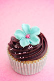 Flower cupcake. Cupcake decorated with chocolate frosting and a sugar flower Royalty Free Stock Photography