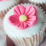 Flower cupcake. Cupcake decorated with a pink sugar flower Royalty Free Stock Photo