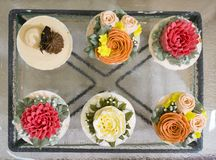 Flower cupcake on top view. Flower cupcake on top view Stock Photography