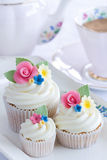 Flower cupcakes Stock Photos