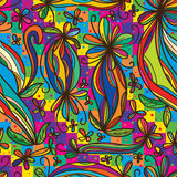 Flower curl draw rainbow colorful seamless pattern vector illustration