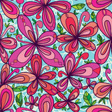 Flower cute drawing style leaves seamless pattern Royalty Free Stock Images