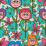 Flower cute mascot seamless pattern Royalty Free Stock Image