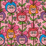 Flower cute mascot vertical seamless pattern Royalty Free Stock Image