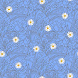Flower daisies geometry striped  seamless pattern Royalty Free Stock Photos