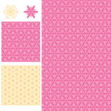 Flower daisy symmetry seamless pattern. This illustration is design and drawing abstract flower daisy yellow and pink in seamless pattern with demo display Royalty Free Stock Images
