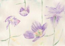 Flower Dance. Original watercolour illustration of violet flowers Stock Photo