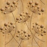 Flower Dandelions - seamless background - wooden structure Royalty Free Stock Photo