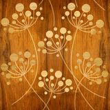 Flower Dandelions - Interior wallpaper - wooden texture. Flower Dandelions - Interior wallpaper - seamless background - wooden structure Royalty Free Stock Photography