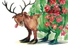 Flower dear. Illustration of fairytale flower dear Stock Image