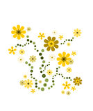 Flower deco in bright yellow. Swirly flower decoration in summer colors yellow, brown and green vector illustration