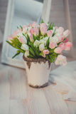 Flower decor. Bouquet of white and pink tulips. Royalty Free Stock Photography