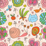 Flower decor doddle cute seamless pattern Royalty Free Stock Image
