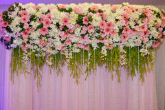 Flower decorate backdrop. In wedding ceremony Royalty Free Stock Photos