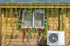Flower decorated exterior wall Stock Photos
