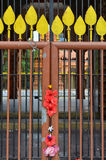 Flower decorated gate on at Hindu Temple Stock Photos