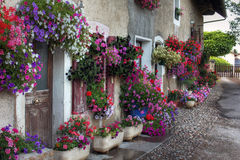 Flower decorated house at Albens, Savoie - France Royalty Free Stock Photography