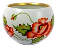 Porcelain bowl. Flower-decorated porcelain bowl Royalty Free Stock Image