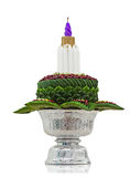 Flower decorated on tray with pedestal isolated on whitebackground Stock Image