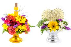Flower decorated on tray with pedesta. L to be used in the ceremony for paying respect to teachers or elder people Stock Photo