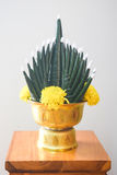 Flower decorated on tray with pedestal Stock Photo