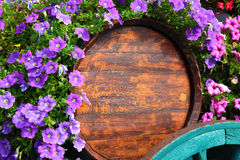 Flower decorated wine cart in Beaujolais region Stock Photo