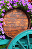 Flower decorated wine cart in Beaujolais region Stock Photos