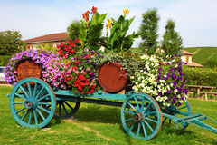 Flower decorated wine cart in Beaujolais region of France Royalty Free Stock Images