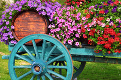 Flower decorated wine cart in Beaujolais region of France Stock Photography
