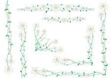Flower decoration. Beautiful florets on small stalks, scenery for cards Stock Images