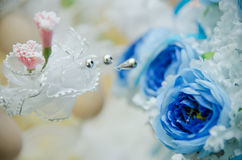 Flower Decoration. Close-up view of flowers as part of a wedding decoration Stock Photo